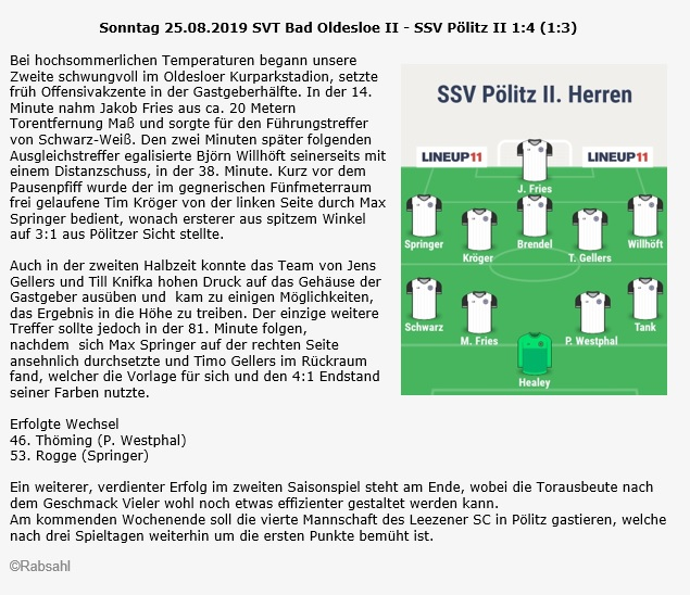 SVT Bad Oldesloe II - SSV II 2 Spieltag